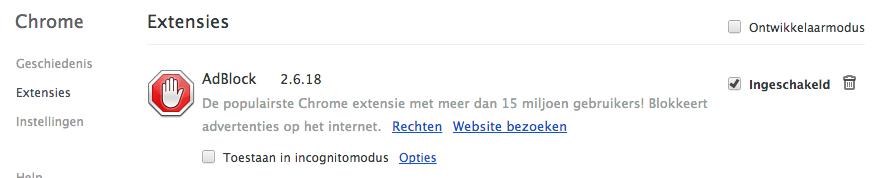 Extensies Chrome